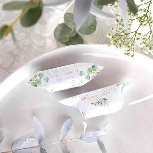 KRÓWKI podziękowanie dla gości na Ślub Gałązka Eukaliptusa Z IMIONAMI 20szt