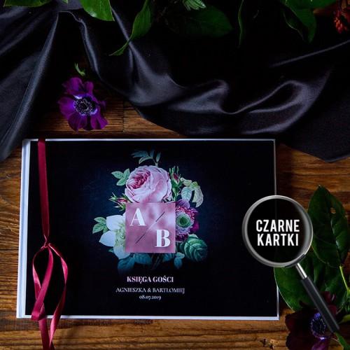 KSIĘGA GOŚCI czarne kartki fotobudka Z IMIONAMI Flora Dark (+wstążka bordowa)