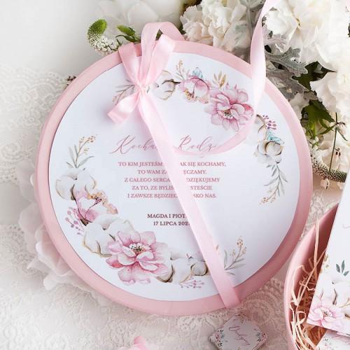 PODZIĘKOWANIE dla Rodziców w pudełku Subtelny Róż