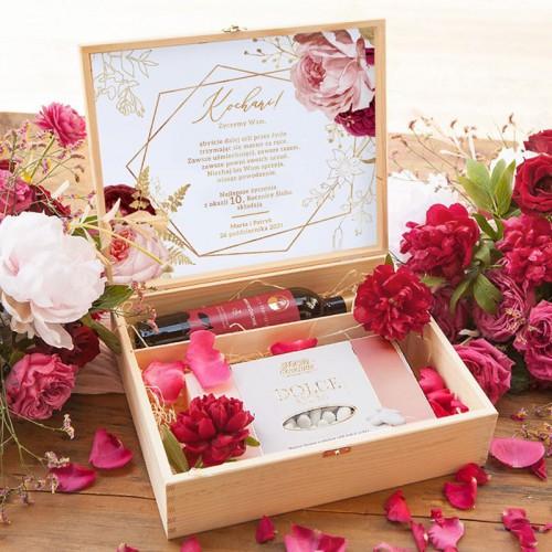 PREZENT na Rocznicę Ślubu w skrzyni Z IMIONAMI Wino+migdały Marsala&Gold