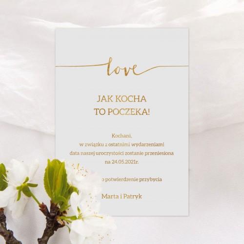 ZMIENIONA data ślubu zawiadomienie Love