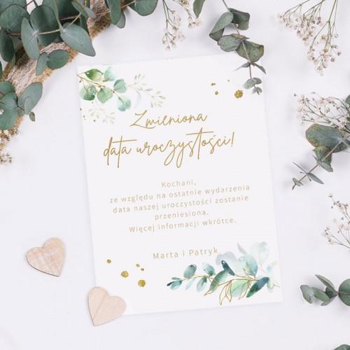 ZMIENIONA data ślubu zawiadomienie Gałązka Eukaliptusa