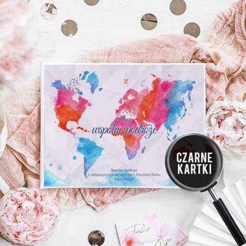 PREZENT na Rocznicę Ślubu Album czarne kartki Z Imionami MAPA
