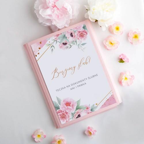 TECZKA na dokumenty ślubne Z IMIONAMI Zapach Piwonii Różowa