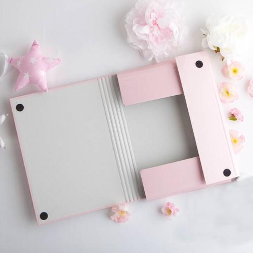 TECZKA na dokumenty ślubne Z IMIONAMI Rosegold Flowers Różowa