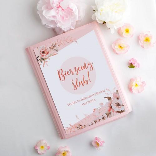 TECZKA na dokumenty ślubne Z IMIONAMI kwiaty Rosegold Różowa