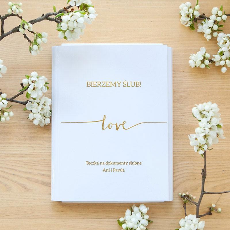 TECZKA na dokumenty ślubne Z IMIONAMI Love