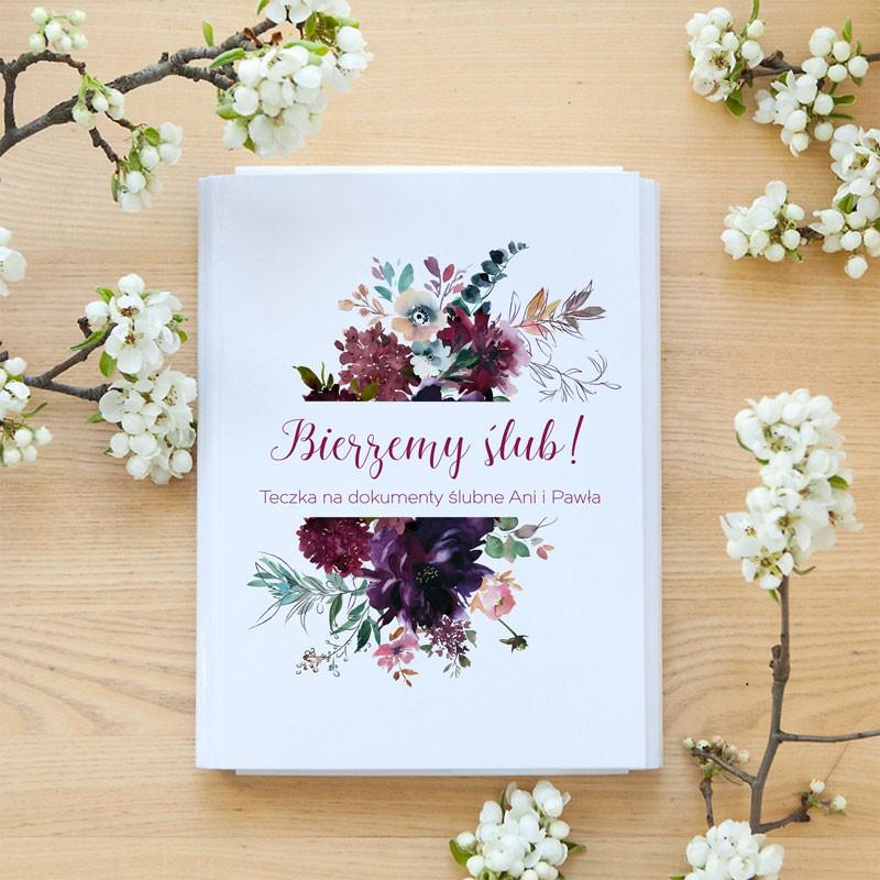 TECZKA na dokumenty ślubne Z IMIONAMI Burgund