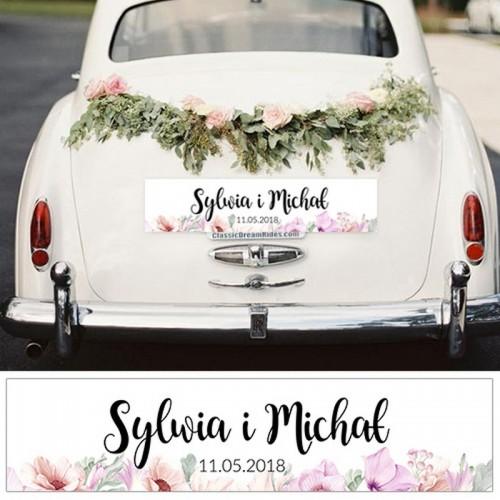 TABLICE rejestracyjne ślub Z NADRUKIEM Liliowe Love