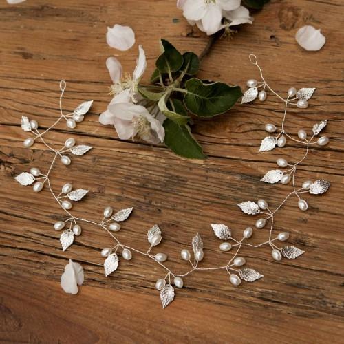 OPASKA ślubna do włosów Listki i perełki (24)