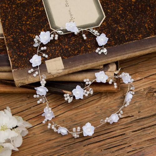 GAŁĄZKA ślubna do włosów Kwiatki i Perełki (009)