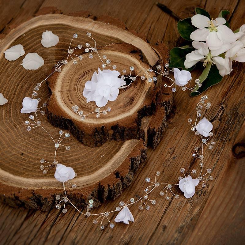 GAŁĄZKA ślubna do włosów Białe Róże (08)