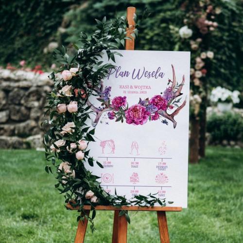 PLAN wesela z imionami 50x70cm Kwiaty Boho