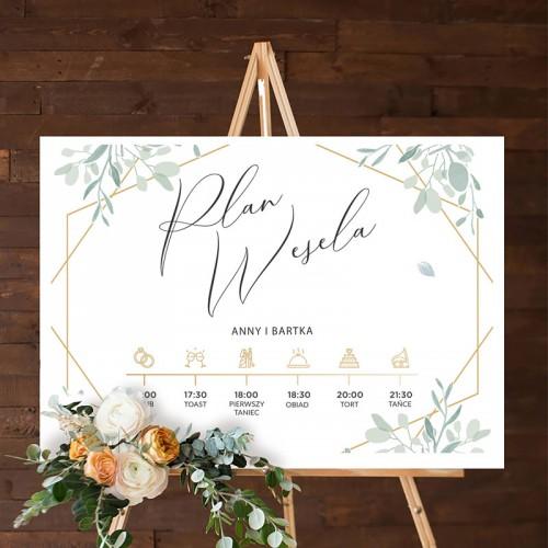 PLAN wesela z imionami 50x70cm Srebrno-Złoty Ślub
