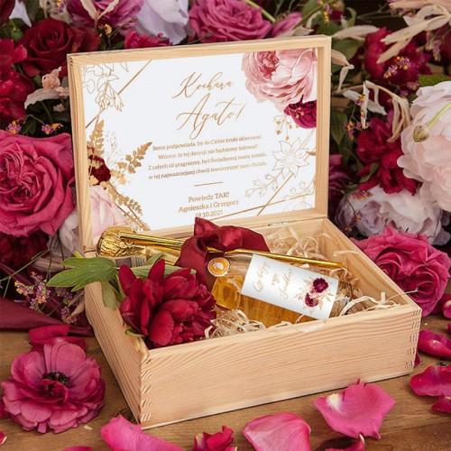 PROŚBA o bycie Świadkową szampan w skrzyni Marsala&Gold