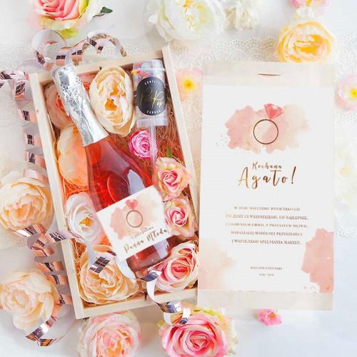 PREZENT na panieński Wino musujace w kwiatach Rosegold Luxury 750ml RÓŻOWY