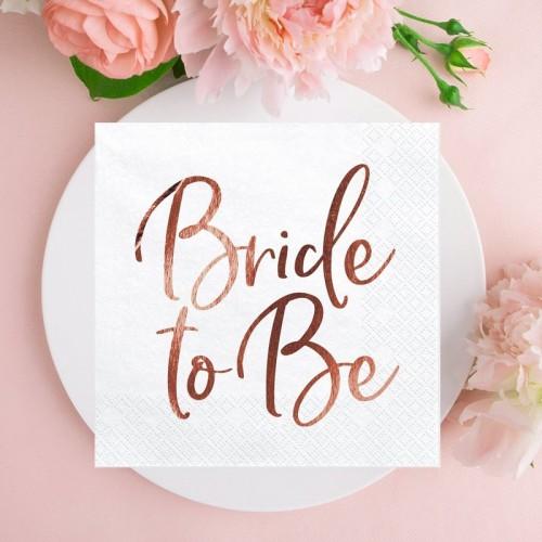 SERWETKI na panieński Bride to Be ROSEGOLD 33x33cm 20szt