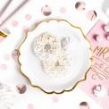 TALERZYKI na panieński białe ze złotym paskiem LUX 6szt