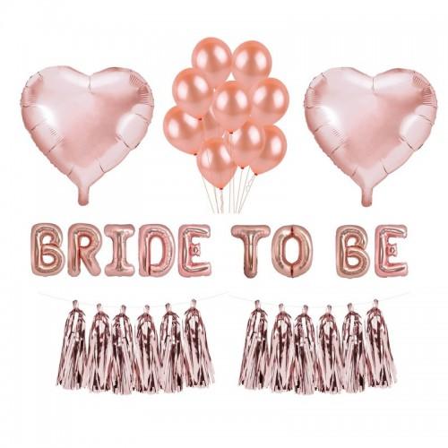 ZESTAW balonów na panieński ROSEGOLD różowe złoto GIGA -25%