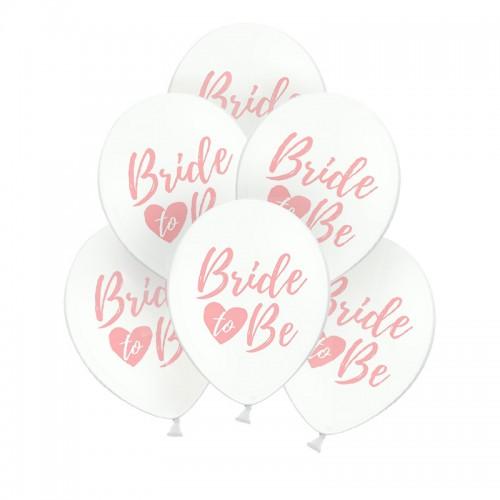 BALONY na panieński Bride to Be z sercem 30cm 6szt RÓŻ