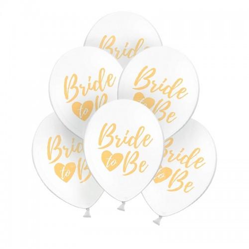 BALONY na panieński Bride to Be z sercem 30cm 6szt ZŁOTE
