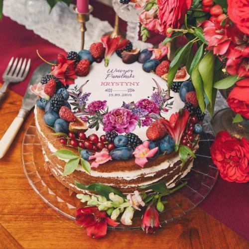 OPŁATEK personalizowany na tort Kwiaty Boho Ø20cm