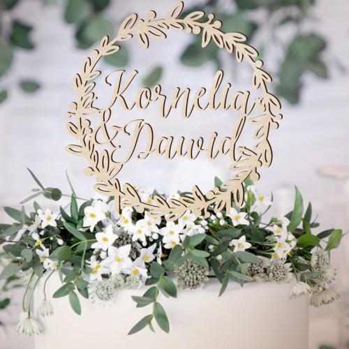 TOPPER na tort weselny drewniany Z IMIONAMI Botaniczny