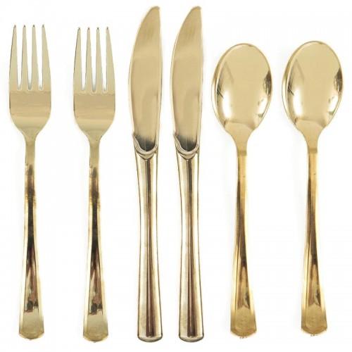SZTUĆCE plastikowe widelce+noże+łyżki 6kpl ZŁOTE LUX