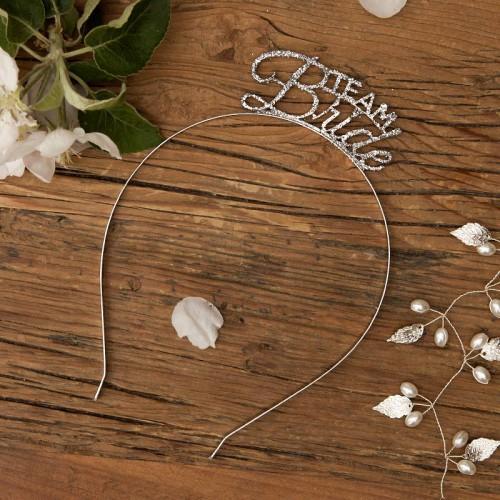 OPASKA na panieński Team Bride z diamentem SREBRNA