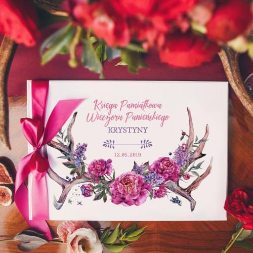 KSIĘGA PAMIĄTKOWA Wieczoru Panieńskiego Kwiaty Boho Z IMIENIEM (+wstążka c.róż)