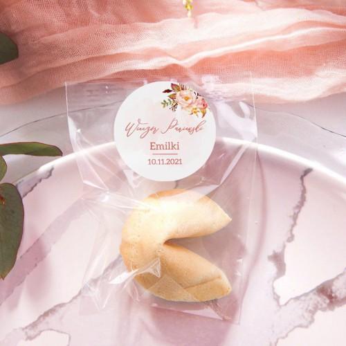 CIASTECZKA z wróżbą Rosegold Flowers 10szt (+etykiety)