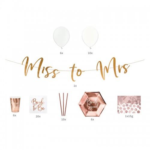 ZESTAW dekoracji na Wieczór Panieński ROSEGOLD Miss to Mrs