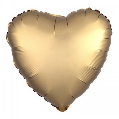 BALON foliowy Serce 45cm CHROMOWANY ZŁOTY
