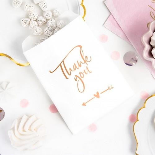 TOREBKI na słodkości dla dziewczyn Thank You ROSEGOLD 6szt