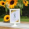 NUMEREK na stół wesele z imionami Akwarelowe Słoneczniki
