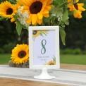 NUMEREK na stół wesele z imionami Kolekcja Słoneczniki