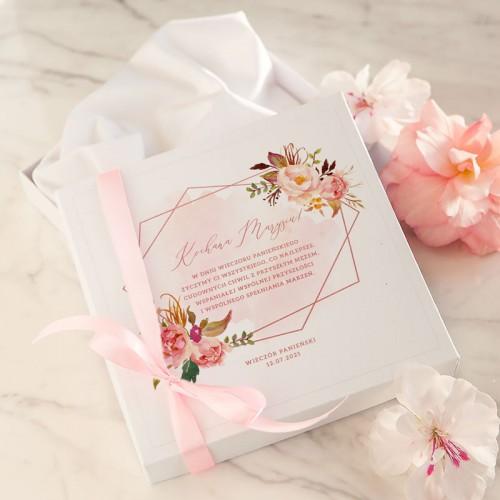 PREZENT na wieczór panieński bielizna ślubna w pudełku Z IMIENIEM Rosegold Flowers