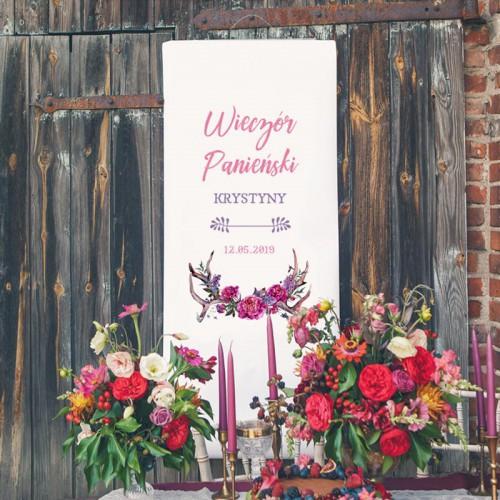 DEKORACJA sali na panieński + listwa 60x150cm Kwiaty Boho