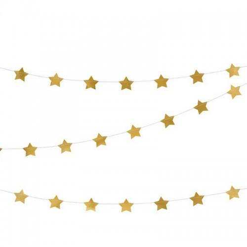 GIRLANDA metaliczne Gwiazdki 3,6m ZŁOTA