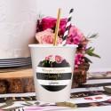 KUBECZKI na panieński z imieniem Flowers&Stripes 6szt (+etykiety)