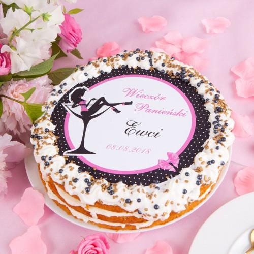 OPŁATEK na tort na panieński z imieniem groszki Ø20cm