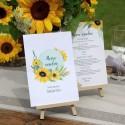MENU weselne Akwarelowe Słoneczniki