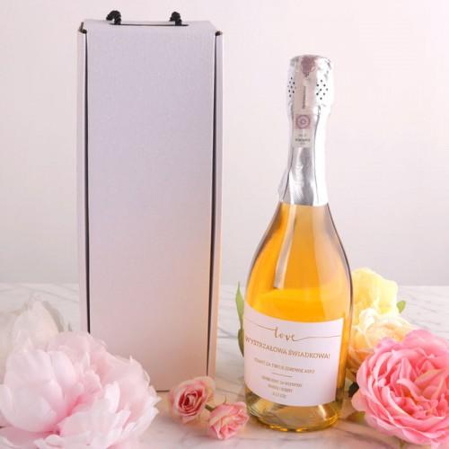 PREZENT dla Świadkowej Wino musujące w pudełku BIAŁYM Love +IMIĘ