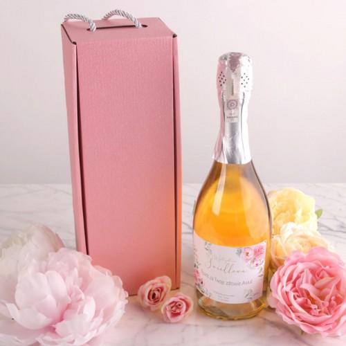 PREZENT dla Świadkowej Wino musujące w pudełku RÓŻ Piwonie +IMIĘ