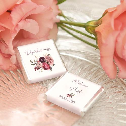 CZEKOLADKI ślubne Z IMIONAMI Dusty Roses 10szt