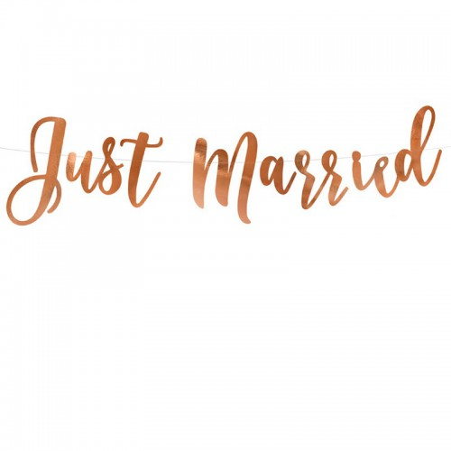 BANER girlanda ślubna Just Married ROSEGOLD