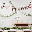 BANER girlanda ślubna Just Married ROSEGOLD