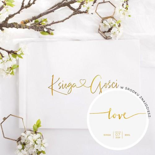 KSIĘGA GOŚCI weselnych z sercem ZŁOCONA Nadruk imion w środku Love