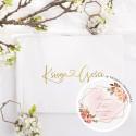 KSIĘGA GOŚCI weselnych z sercem ZŁOCONA Nadruk imion w środku Rosegold Flowers