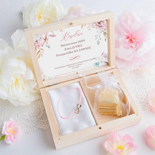 PREZENT na Panieński bransoletka POZŁACANA Subtelny Róż